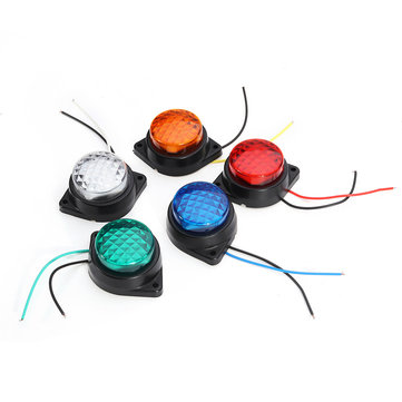 LED Light Clearance Front Rear Side Marker Indicator Lamp Round Outer Display Width Light