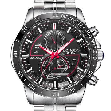 LONGBO 80132 Luminous Men Watch Fashion Date Display Stainless Steel Quartz Wrist Watch