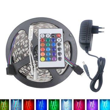5M 3528 24W RGB 300 Non-Waterproof LED Flexible Strip Light 24 Keys IR Remote + Power Adapter DC12V
