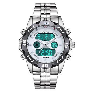 STRYVE S8011 Chronograph Alarm Calendar Stainless Steel Sport Dual Display Digital Watch
