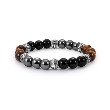 Vintage Tiger-eye Men's Beaded Bracelet Natural Stone Beads Buddha Bracelets for Men