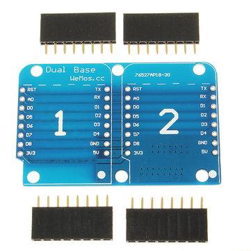 3Pcs WeMos® Double Socket Dual Base Shield For WeMos D1 Mini NodeMCU ESP8266 DIY PCB D1 Expansion Board