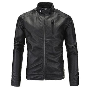 पुरुषों प्लस आकार पु चमड़ा जैकेट स्टैंड कॉलर जिपर ठोस रंग कूल मोटरसाइकिल कोट