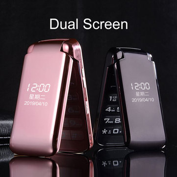 VAJITA GS55 2.8 inch 3200mAh Dual Display Large Button Torch Dual Sim Dual Standby Flip Feature Phone Pink