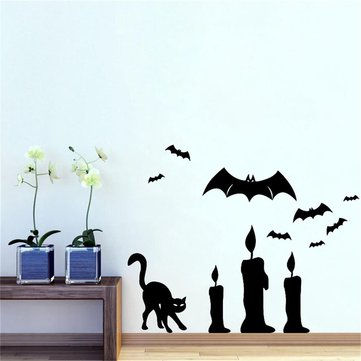 Halloween Bat Cat Candle DIY Wall Sticker Removable PVC Wallpapers Vinyl Art Decal Decor Waterproof Stickers Household Home Wall Sticker Poster Mural Decoration for Bedroom Living Room