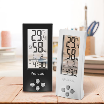 Digoo DG-TH1177 Wireless Digital Transparent Screen Indoor Digital Hygrometer Thermometer Sensor Timer Alarm Clock