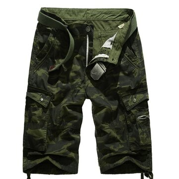 Summer Mens Cotton Camouflage Beach Shorts Big Pockets Army Style Cargo Shorts
