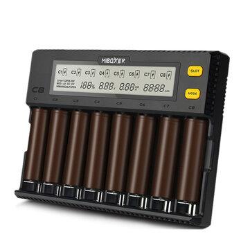 Miboxer C8 8 Yuvaları Hızlı Akıllı AA AAA 18650 Batarya Şarj Akımı Opsiyonel Aşırı Şarj Koruma En Bataryalar Için Ayarlanabilir Yuvaları