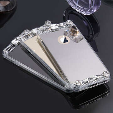 KISSCASE Diamond Glitter Clear Speil Deksel Etui til iPhone X 7 / 7Plus