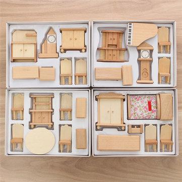 $15.17 for New 29 Pcs 1:24 Scale Dollhouse Miniature Unpainted Wooden Furniture Model Suite
