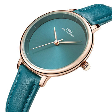 IBSO 6606 Simple Design Ladies Wrist Watch Business Style Leather Band Quartz Watch