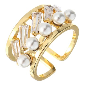 JASSY® Women's Luxury Hollow Zircon Opening Ring 18K Gold Plated Gemstone Pearl Ring Wide Band