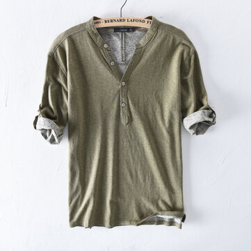 Mens 100% Cotton Breathable Solid Color Casual Buttons T-Shirts