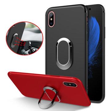 Bakeey Beskyttelsesveske til iPhone XS Maks 360 ° Justerbar Metal Ring Grip Kickstand TPU Bakdeksel