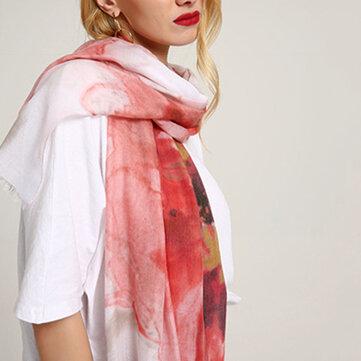 Mujer Chinese Ink Painting Pañuelos de algodón y lino Summer al aire libre Causal Long Scarf