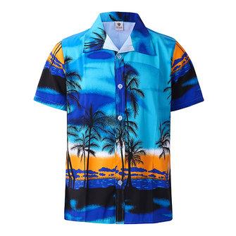 समुद्र तट छुट्टी सांस लेने योग्य त्वरित सुखाने नारियल के पेड़ मुद्रण लूज लाउंज लघु आस्तीन पुरुष