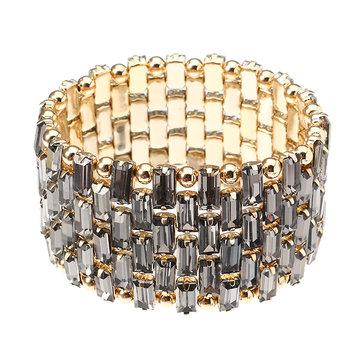 JASSY® Luxury Gold Plated Bead Bracelet Trendy Shiny Transparent Black Crystal Stretch Cuff Bracelet