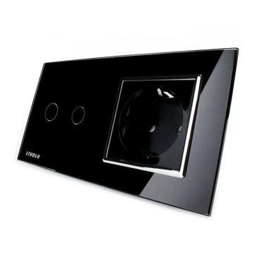Livolo Black Glass Touch Switch EU Wall Socket VL-C702-12/VL-C7C1EU-12