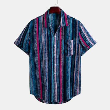 Mens Fashion Colorful Chest Pocket Design Loose Casual Short Sleeve Striped Shirts