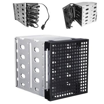 """5,25 """"hingga 5x 3,5"""" SATA SAS HDD Cage Rack Hard Drive Tray Caddy Converter dengan Ruang Kipas"""
