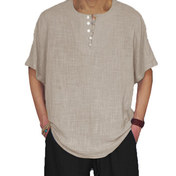Mens Vintage Chinese Style Loose Casual T-Shirts Tee Tops