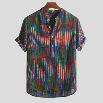 Mens Ethnic Style Printed Colorful Stripe Loose T-shirts Stand Collar Henley Shirts