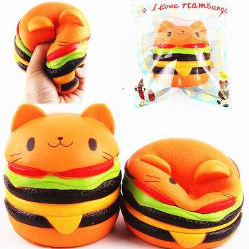 Sanqi Elan Squishy बिल्ली बर्गर 11 * 10 सेमी धीमा बढ़ती Soft पशु संग्रह उपहार सजावट खिलौना मूल पैकेजिंग