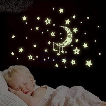 Miico luminosa estrella y luna creativo CLORURO DE POLIVINILO etiqueta de la pared decoración del hogar arte mural extraíble tatuajes de la pared