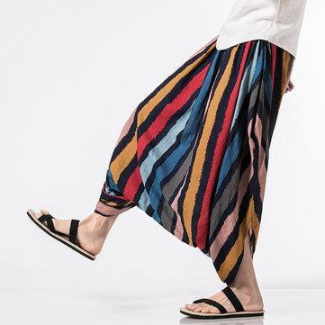 INCERUN मेंस 100% कॉटन क्रॉच वाइड लेग पैंट स्पोर्ट्स लूज Yoga हरेम स्ट्राइप सॉलिड ट्राउजर