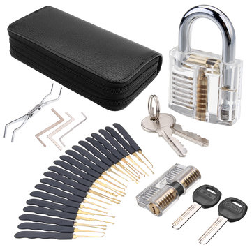 DANIU 24Pcs Lock Picks Training Tool Transparent Practice Padlock Set Locksmith Tool