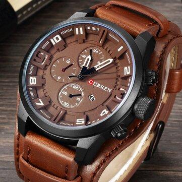 CURREN 8225 Fashion Men Quartz Wristwatch Creative Leather Strap Sports Watch COD