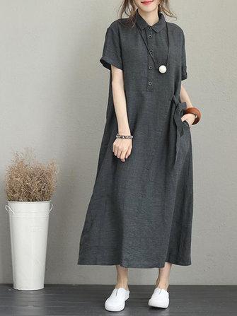 Kadınlar Casual Düğme Down Casual Gevşek Kısa Kollu Elbise Cepli