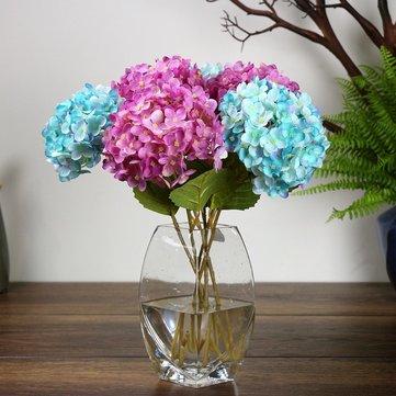Bolas de flores falsas artificiales de Hydrangea de la hortensia Boda Ramo con Hoja Brote para las decoraciones caseras de la escarda DIY Página de inicio Boda Flores decorativas de la fiesta 6 colores