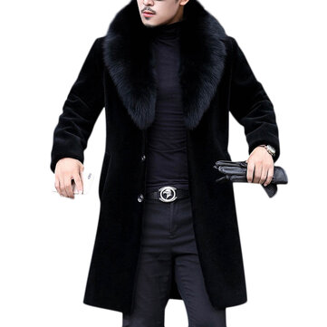 3e78c52558 Men Faux Fur Coat Slim Fit Mid Long Winter Warm Black Casual Jacket Coats