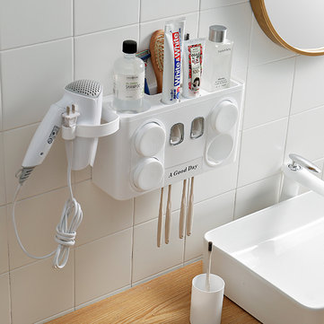 4-1 Auto Toothpaste Dispenser Toothbrush Cup Holder Wall Mount Stand Bathroom