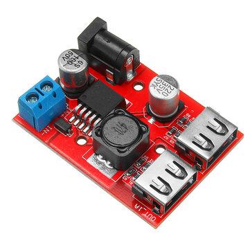 LM2596S Dual USB port 9V/12V/24V/36V to 5V DC-DC Step Down Buck Car Charger Solar 3A Power Supply Module
