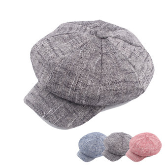 Phụ nữ Mens Vintage linen Octagonal Cap Casual Solid Họa sĩ Mũ Newsboy