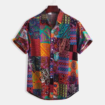 Mens Summer Stripe Cotton Ethnic Floral Printing Shirts