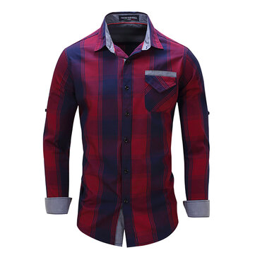 Mens Plaid Printing Fashion Causal Cotton Spring Autumn Shirt Long Sleeve Turn-down Collar