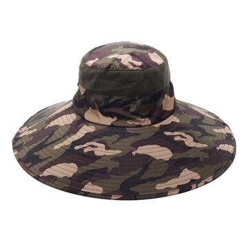 dc6880e6d5826 Men Women Cotton Camouflage Foldable Round Hat Outdoor Breathable Mesh Bucket  Cap Fisherman Hats