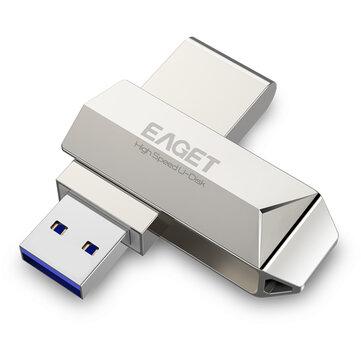 Eaget F70 USB 3.0 128GB Metal USB Flash Kör U Disk Pen Drive 360 Degree Rotation