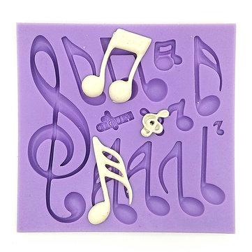 Notas musicales Molde de la torta de la pasta de azúcar Molde de la torta de la hornada del molde del chocolate del silicón que adorna la herramienta