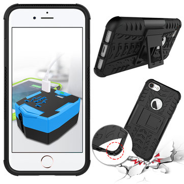 Støtsikker Anti Skid Anti-drop Kickstand Case Hard Soft Hybrid Robust Case Cover For iPhone 7
