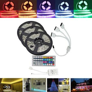 Bộ đèn LED dải băng 15M SMD5050 không thấm nước RGB 450 + Bộ điều khiển 44 phím + Đầu nối cáp PCB