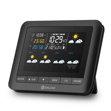 Digoo DG-TH8805 Versión inalámbrica de cinco días Focast Estación meteoológica Pantalla a todo colo Digital USB al aire libre Presión barométrica Higrómetro Humedad Termómetro Temperatura con al aire libre Senso Reloj