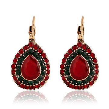 Bohemian Red Crystal Earrings Retro Water Drop Ear Drop Rhinestone Earring For Women