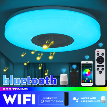 Bluetooth WIFI LED Ceiling Light RGB Music Speaker Dimmable Lamp APP Remote Room