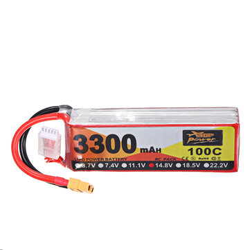 ZOP Power 14.8V 3300mAh 100C 4S Lipo Battery XT60 Plug for RC Helicopter Boat