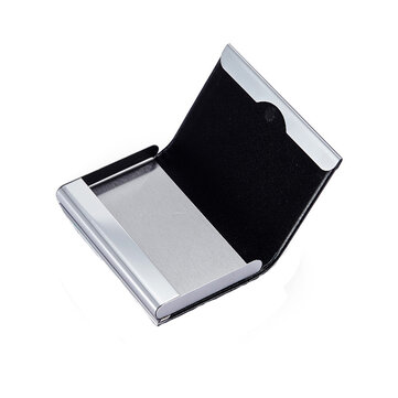 Porta carte di credito in metallo lega di alluminio IPRee® Porta carte di credito in pelle PU carta di identità Scatola