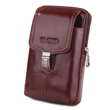 Genuine Leather Hip Belt Clip Phone Pouch Waist Bag Fits Phones up to 6in